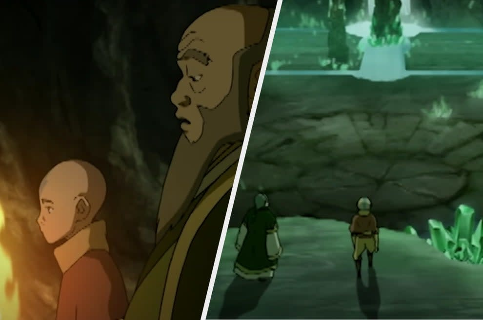 Aang and Iroh walking through a dark tunnel and then arriving in a beautiful cave full of glowing emeralds