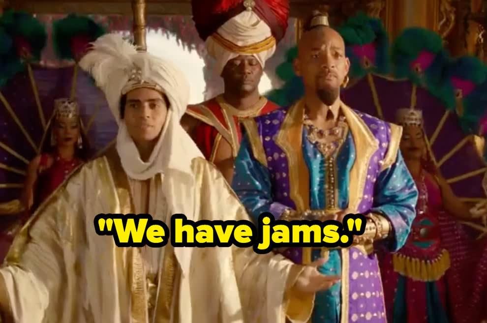 """Aladdin dizendo """"Nós temos geleias."""""""