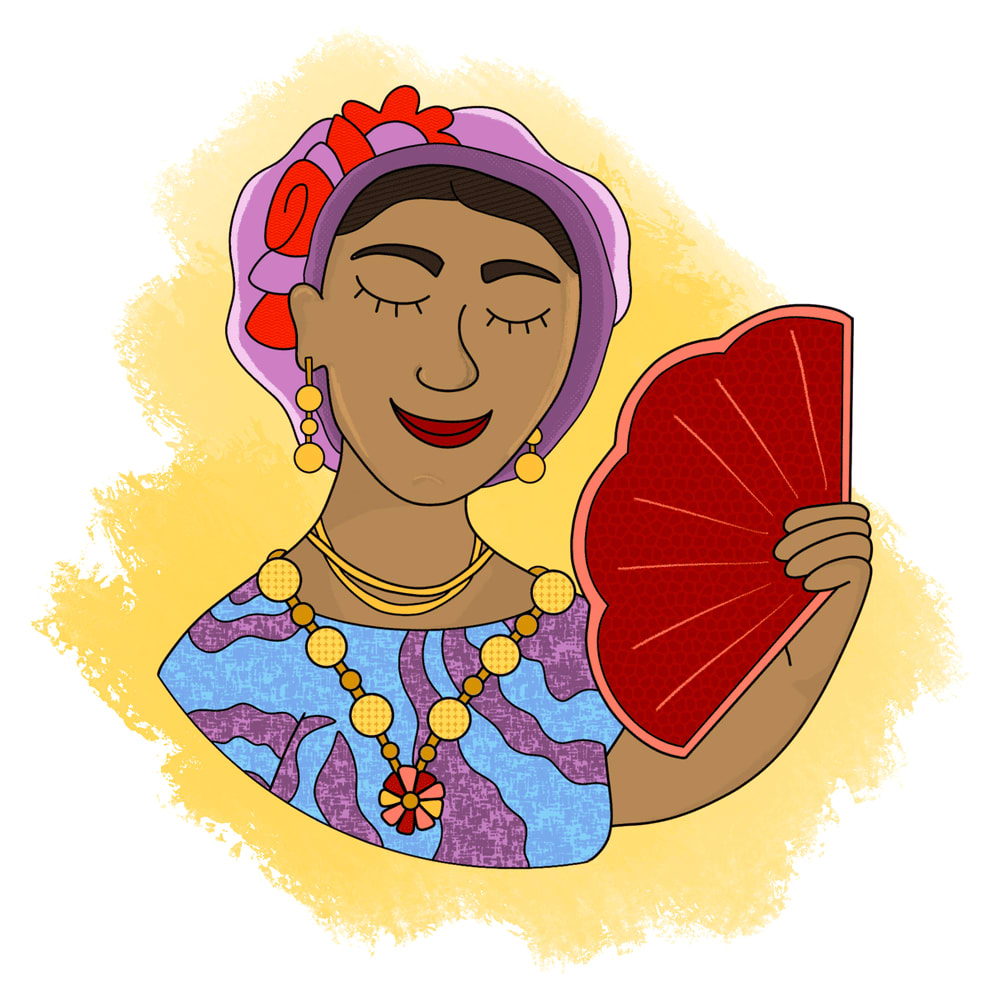 A coloful bust of a Muxe, smiling and fanning themself