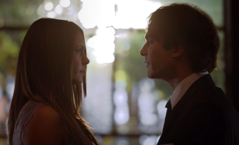 Elena and Damon talk at Bonnie's wedding