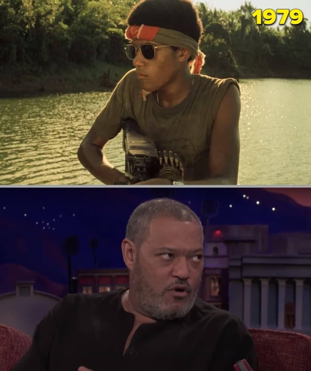 """Laurence Fishburne em """"Apocalypse Now"""" segurando uma metralhadora e sendo entrevistado em 2018"""