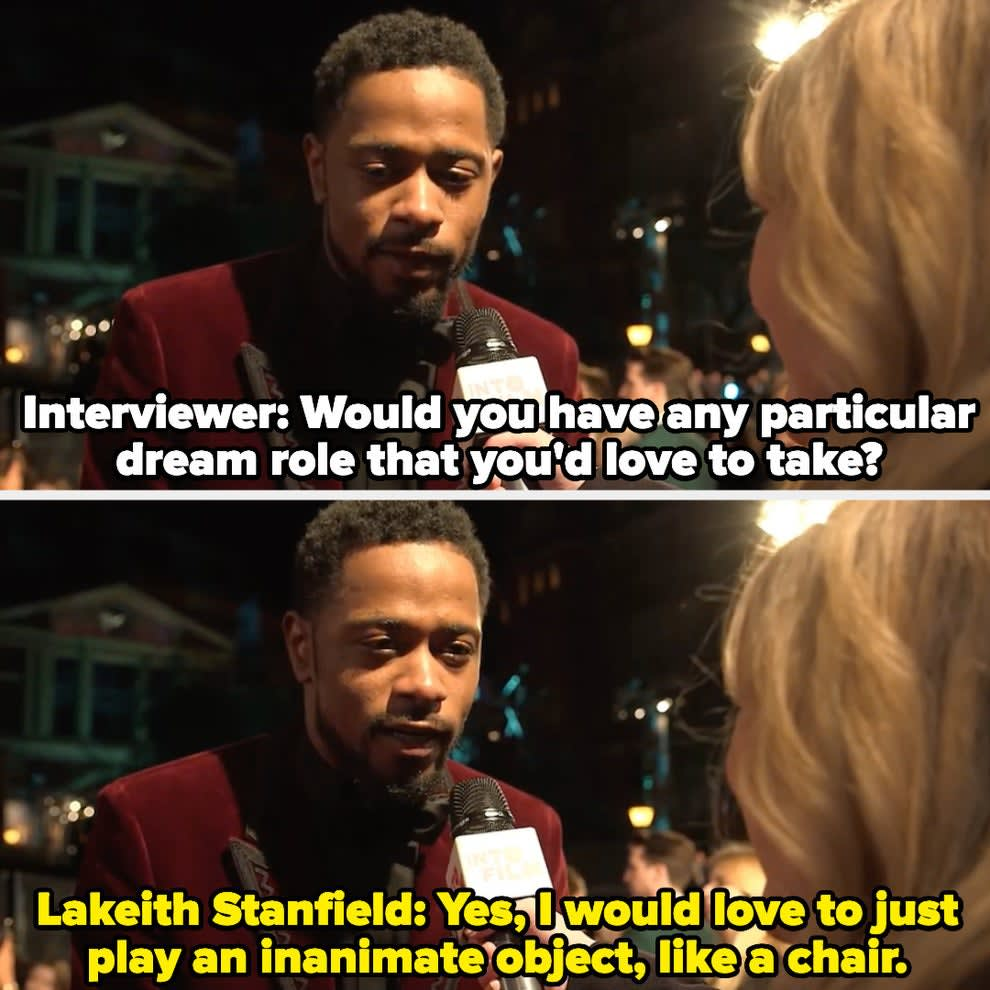 """Lakeith Stanfield tells an interviewer that he'd love to """"just play an inanimate object, like a chair"""""""