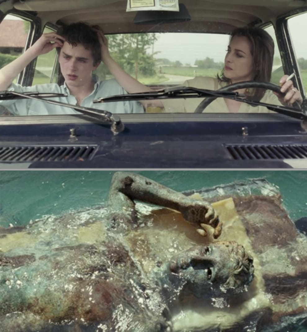 A side-by-side of Elio crying in the car with his hand on his head, compared to a statue from the movie that's making the same gesture