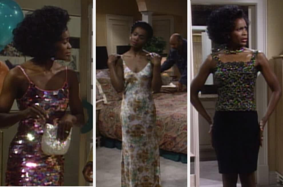 Um montagem com três imagens de uma mulher negra de pele, cabelo curto escura e alta. Na primeira imagem ela veste um vestido de paetês rosa. Na segunda um vestido com estampa florida e na terceira uma blusa brilhante e saia lapis preta.