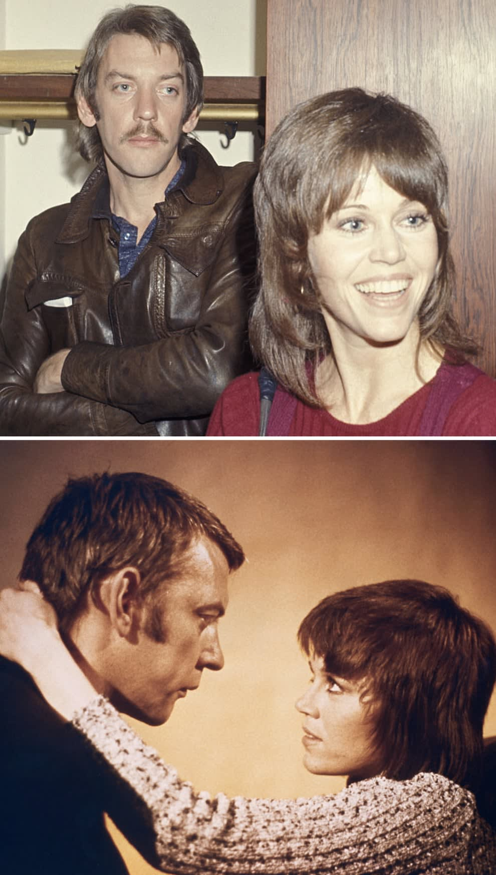 """Fonda and Sutherland at an anti-Vietnam war demonstration in 1971; Fonda and Sutherland on the set of """"Klute"""""""