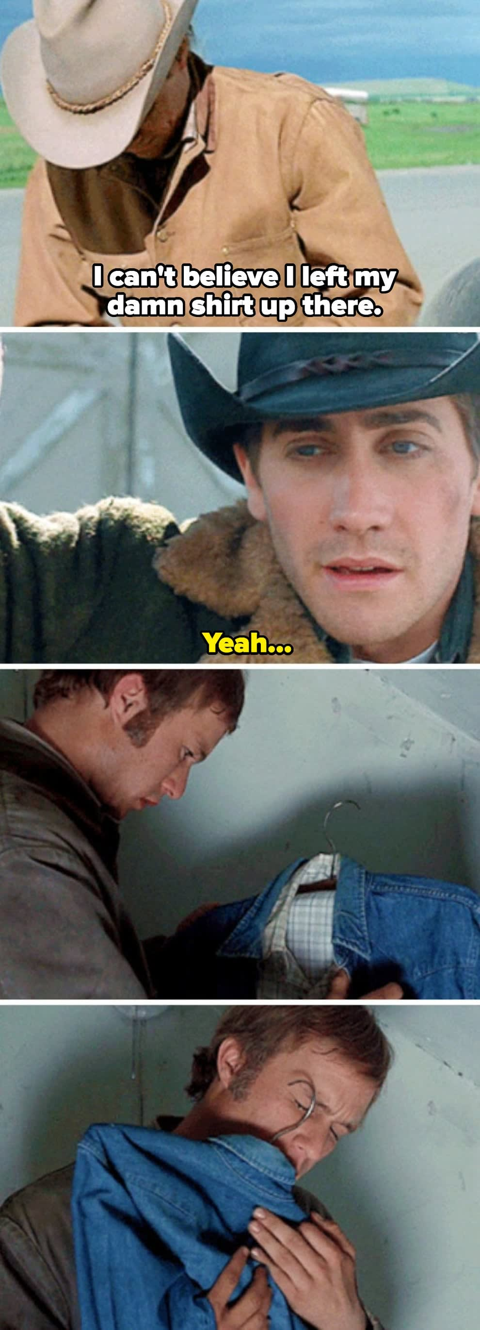 Ennis visiting Jack's home after Jack died, and holding his own shirt that Jack kept