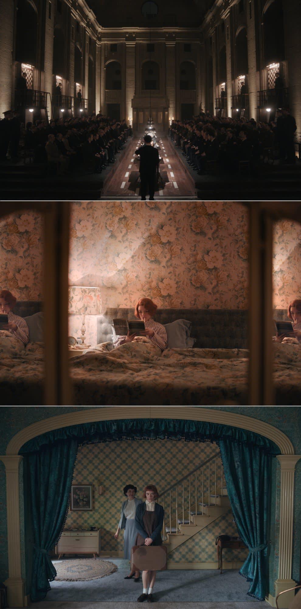 Cena aberta de um corredor cheio de pessoas, cena de Beth fumando enquanto lê no quarto e cena de Beth com sua mala no meio da sala de entrada