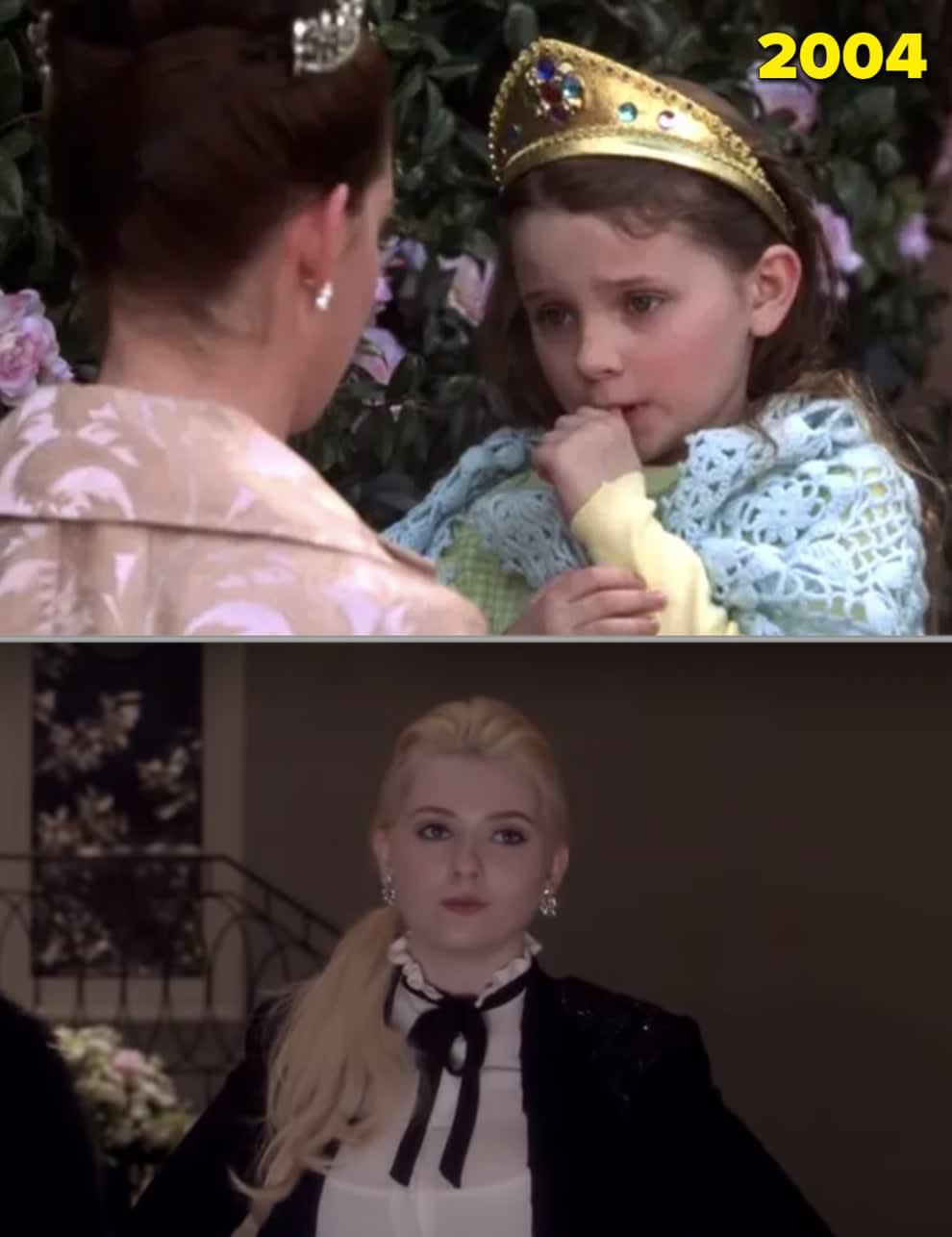 """Abigail quando criança em """"O Diário da Princesa 2: Casamento Real"""" e adulta em """"Scream Queens"""""""