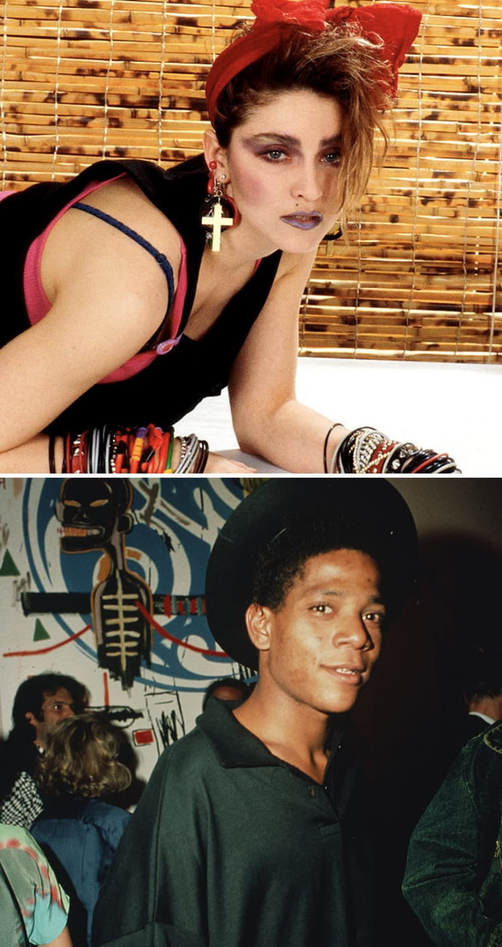Madonna posing for a portrait in New York City in 1984; Basquiat at an art show in 1985
