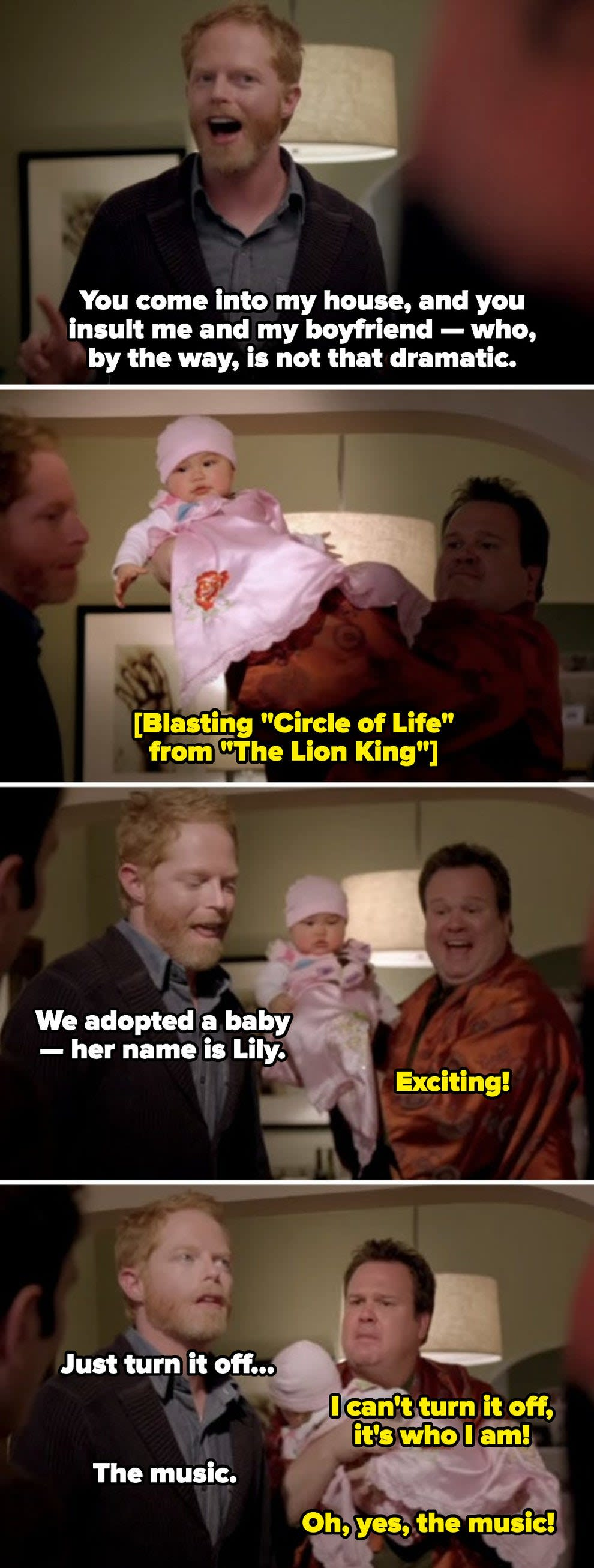 """Cameron introducing Lily to the family by raising her in the air like Simba in """"The Lion King"""""""