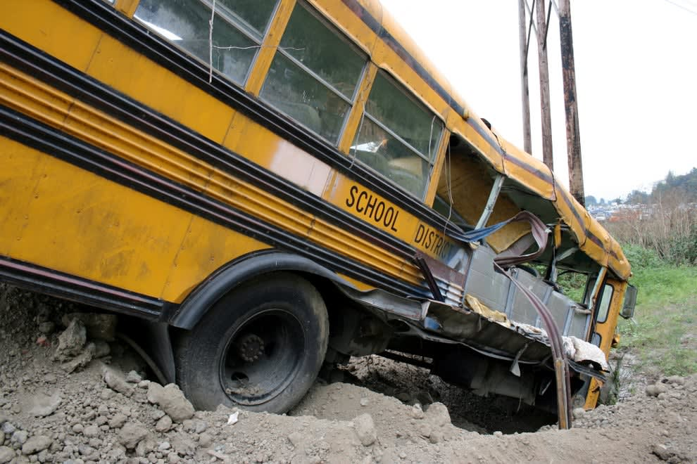 A crashed school bus
