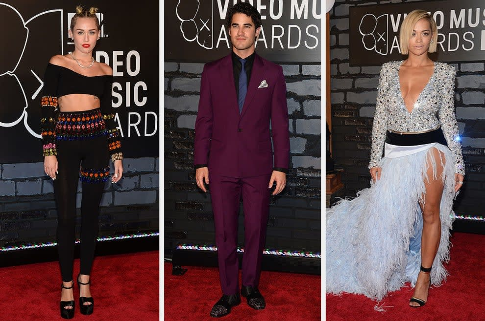 Miley wears a jewel-studded two-piece set, Darren wears a classy suit with rhinestone-studded shoes, Rita wears a jewel-studded gown with a long feather skirt