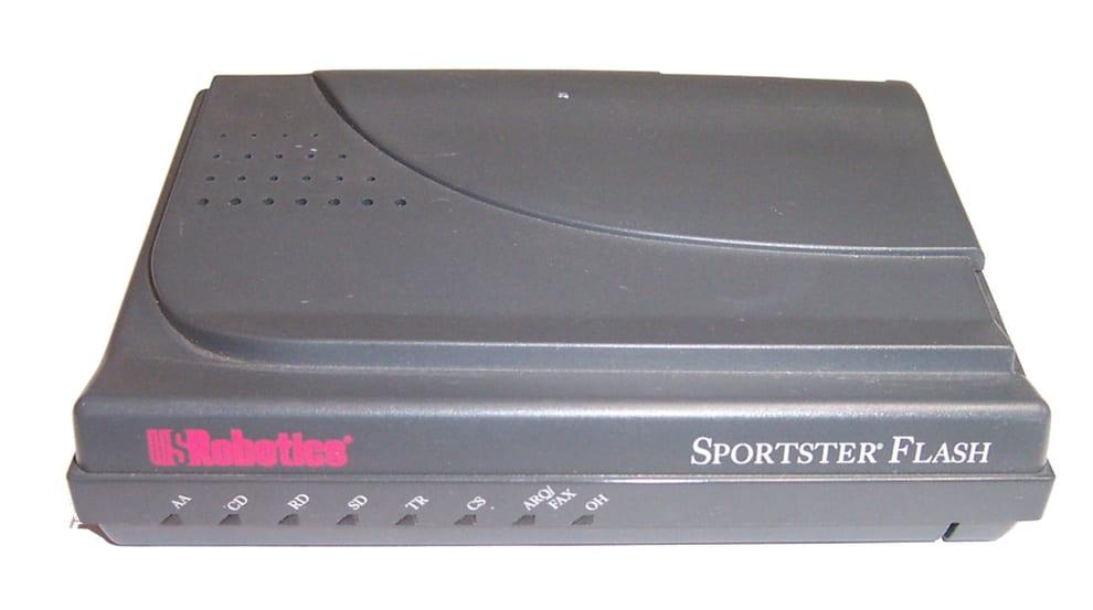 A black 56k modem machine