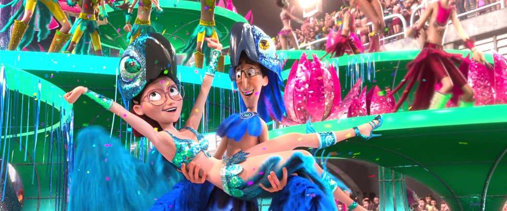 Dois personagens brancos comemorando o Carnaval