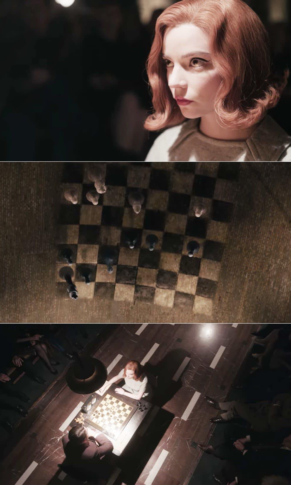 Beth visualizando um jogo de xadrez
