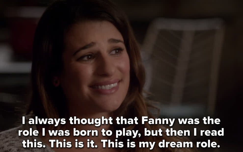 """Rachel saying, """"I always thought that Fanny was the role I was born to play, but then I read this. This is it. This is my dream role"""""""