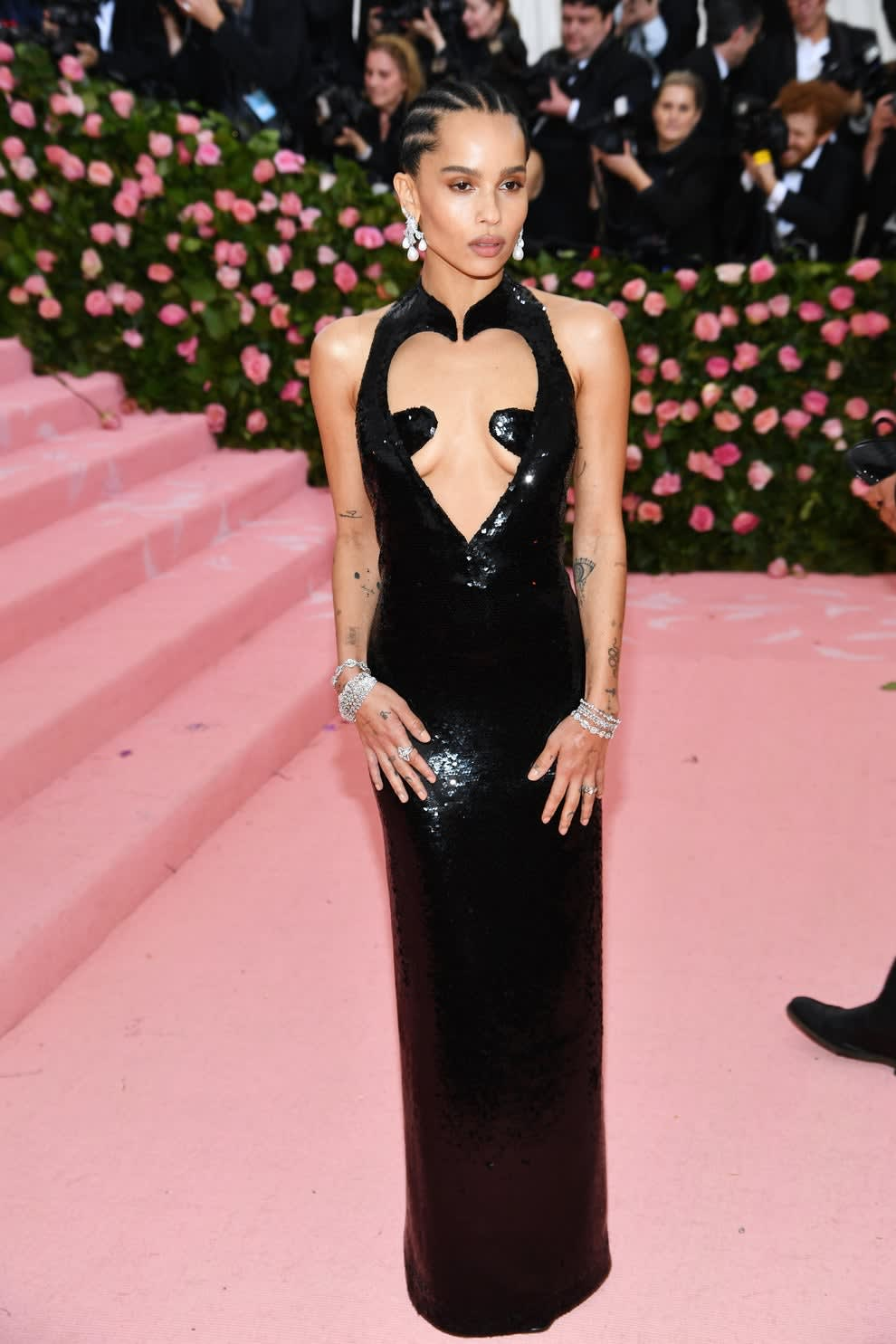 Zoe at Met Gala in long black sequin gown