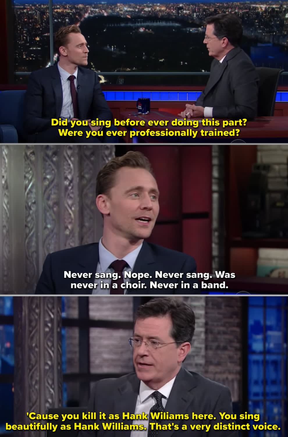 Tom singing with Stephen Colbert on his talk show