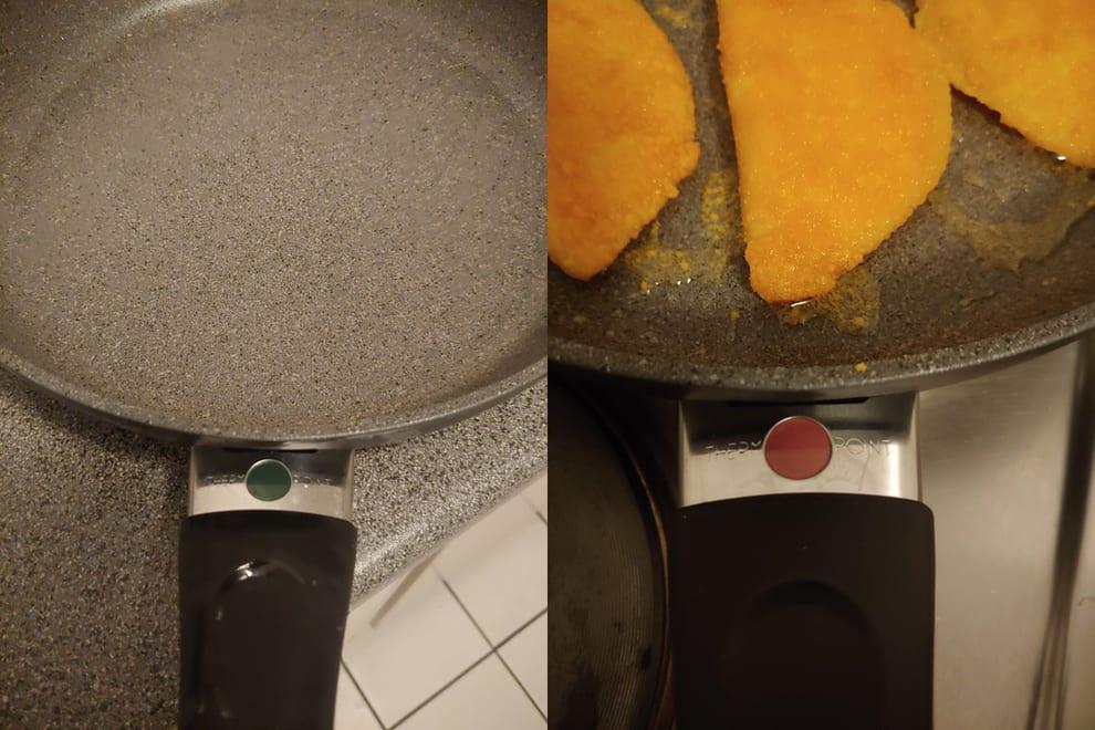 Uma frigideira com um círculo que muda de cor quando está quente