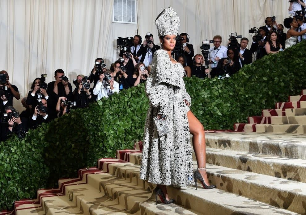 Rihanna in her pope outfit at the Catholic themed Met Gala