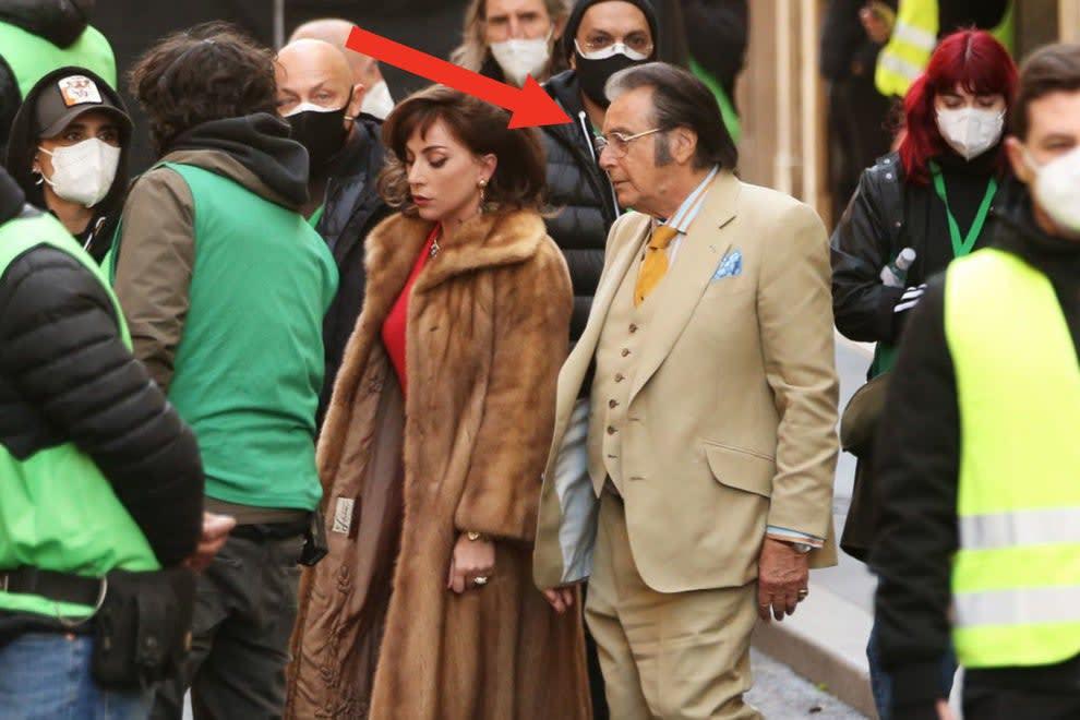 Al Pacino walking with Lady Gaga