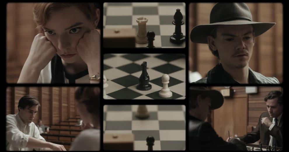 Vários planos de partidas de xadrez e os atores jogando