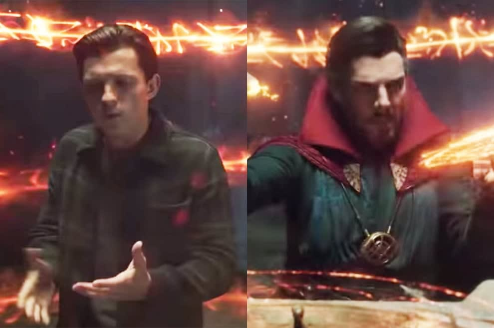 Strange casts a spell around himself and Peter