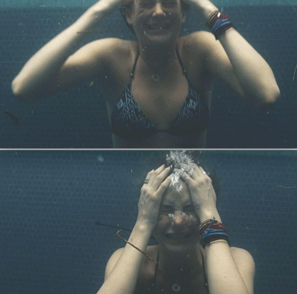 Shailene Woodley crying underwater in The Descendants