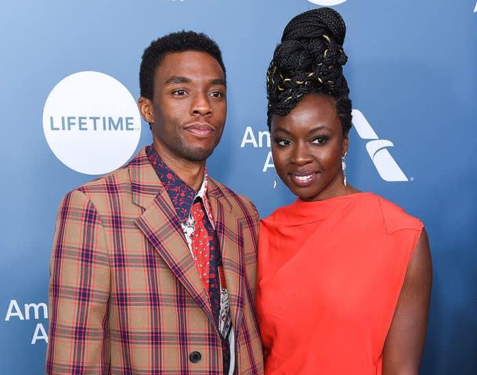 Chadwick Boseman e Danai Gurira juntos no tapete vermelho