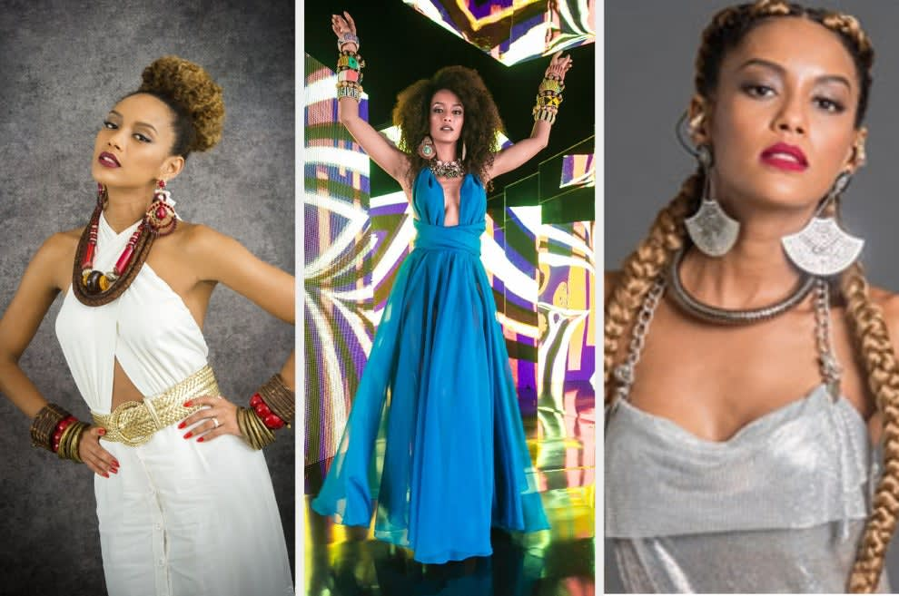 Um montagem com três imagens de uma mulher negra. Na primeira ela usa um macacão branco e acessórios étnicos. Na segunda ela usa um vestido azul e na terceira ela usa um vestido cinza brilhante.