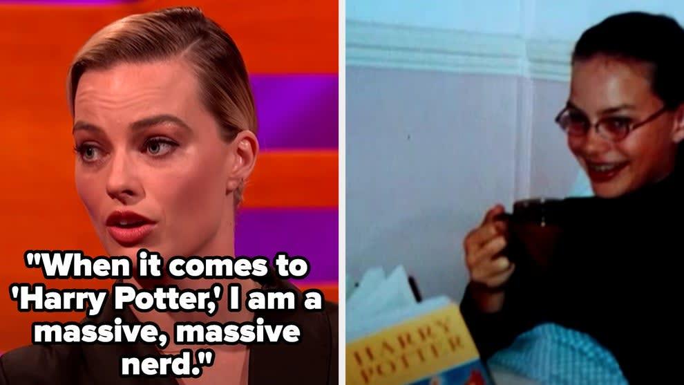 """Margot Robbie """"Eu sou super, super nerd quando se trata de Harry Potter"""", ao lado tem uma foto dela quando adolescente lendo um dos livros do harry potter"""