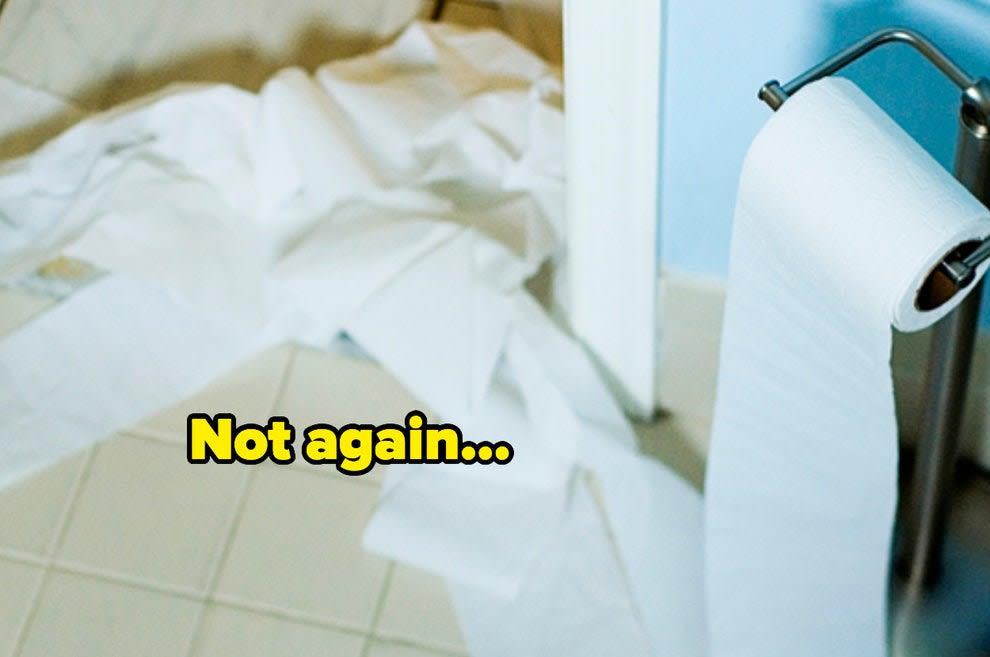 papel higiênico no chão