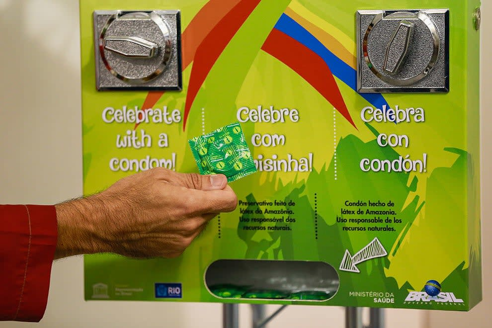 A condom dispenser at the Olympic Village