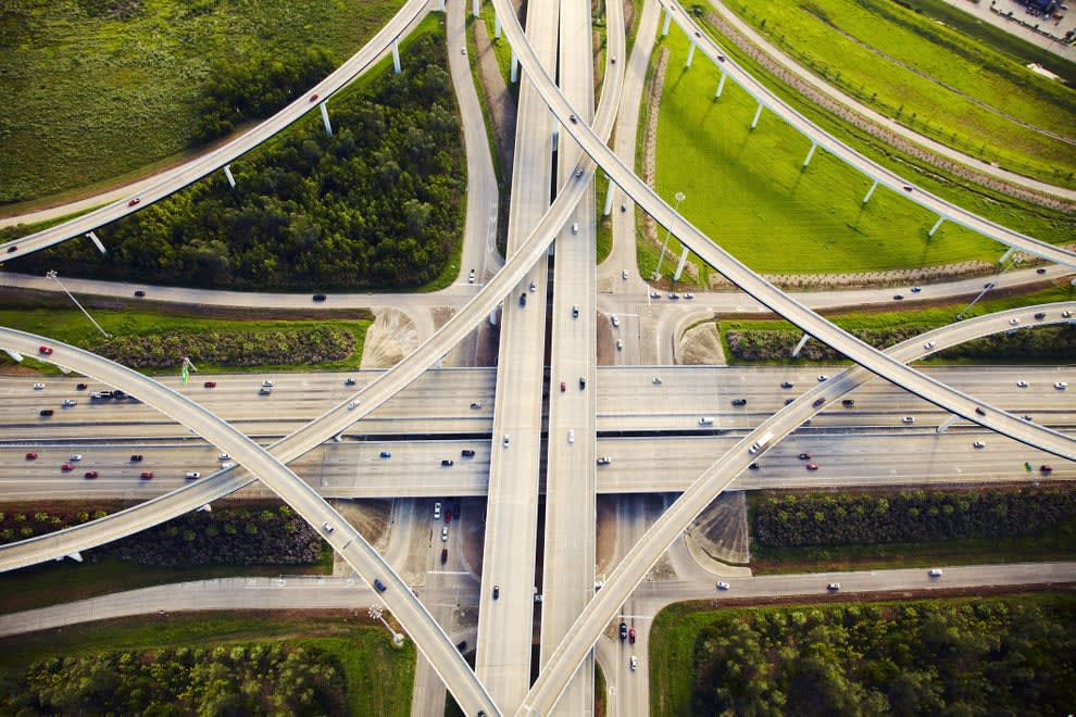 An arial view of a highway