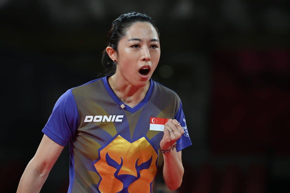 Singaporean athlete celebrating