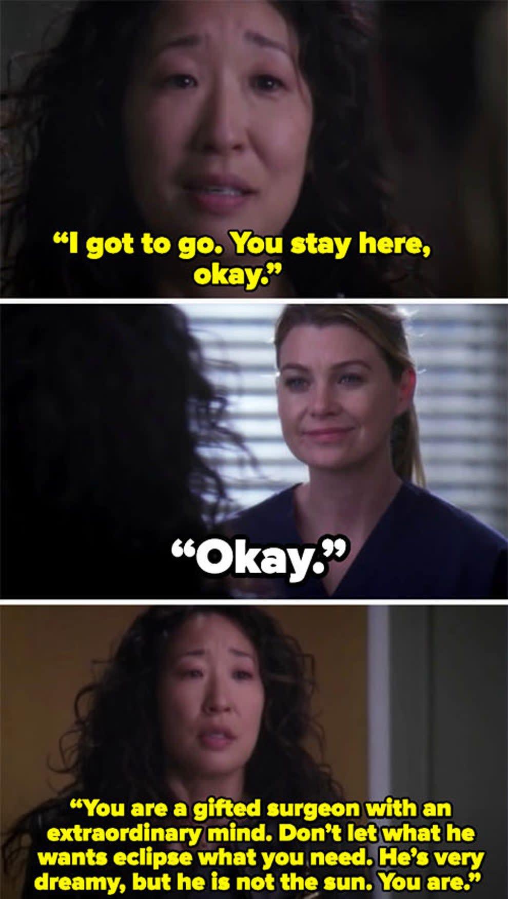 """Cristina saying her goodbye to Meredith on """"Grey's Anatomy"""""""