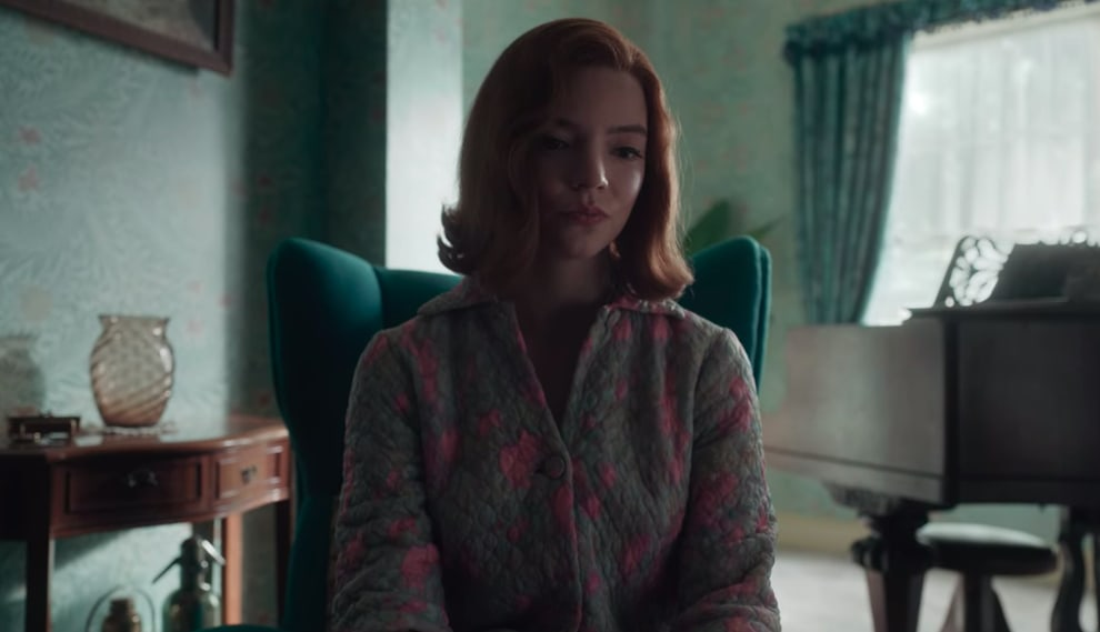 """Anya Taylor-Joy wearing a buttoned sweater in """"The Queen's Gambit"""""""