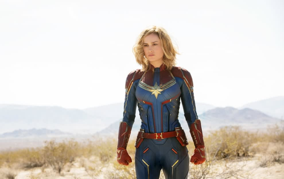 """Brie Larson with perfect hair after a battle in """"Captain Marvel"""""""