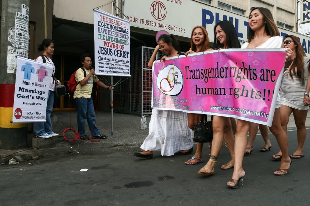 An image of a march for transgender rights