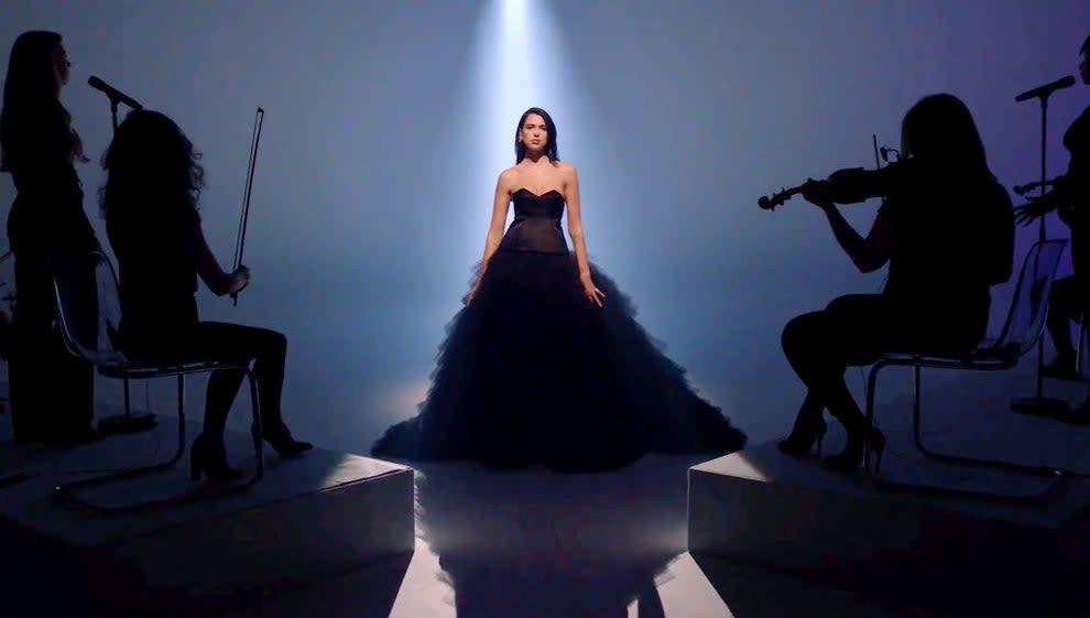 Dua in a huge black ballgown at the billboard music awards