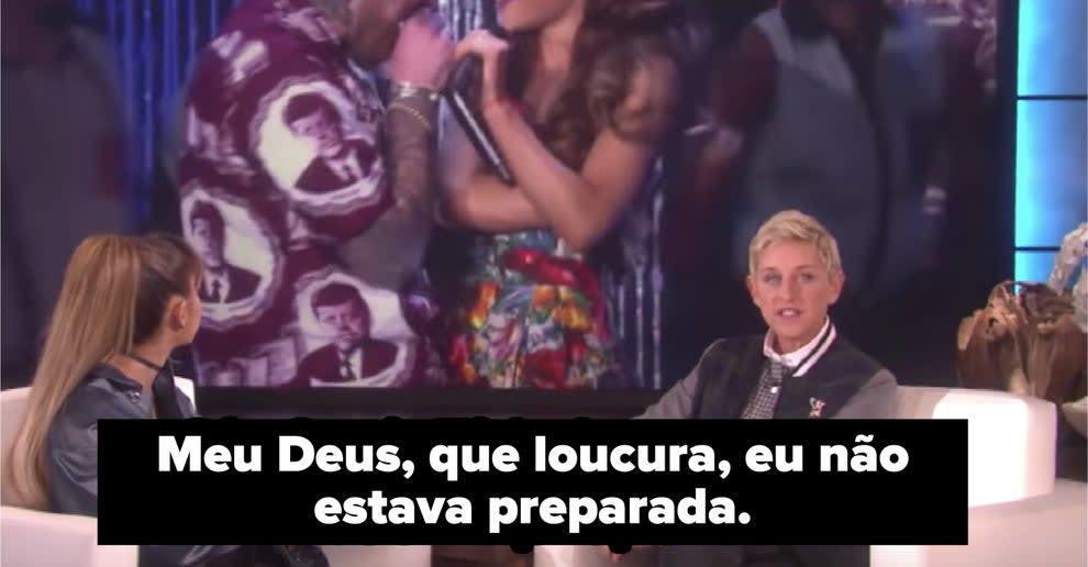 Ariana Grande falando que não estava preparada para falar da sua vida pessoal