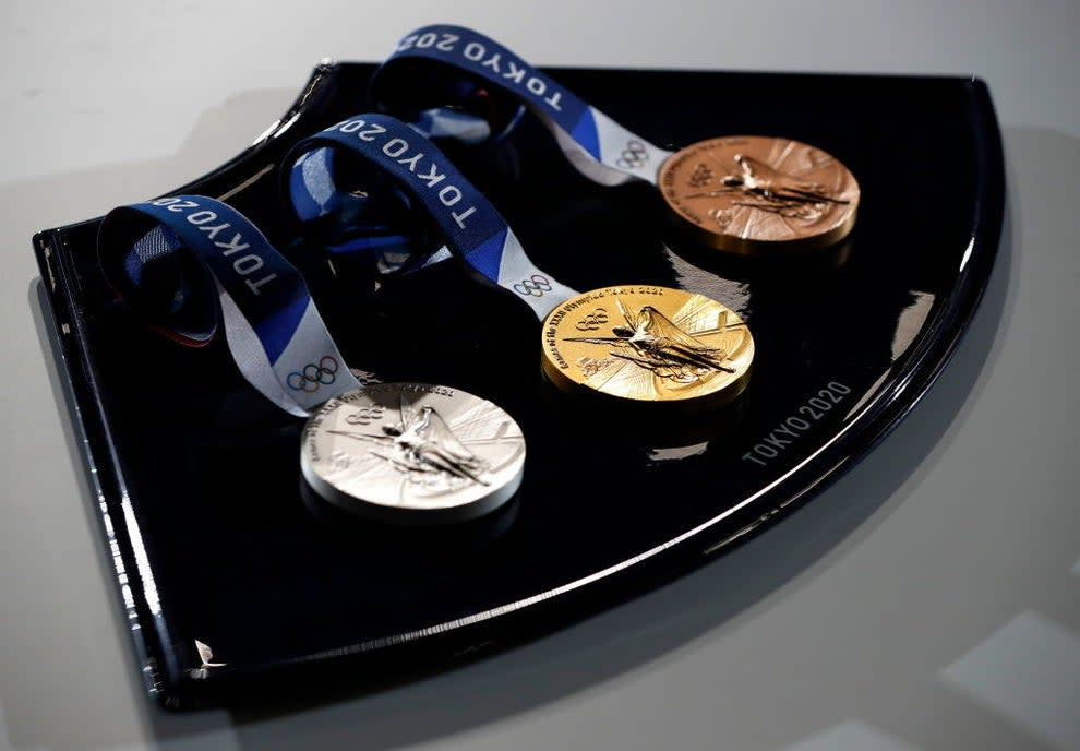 The silver, gold, and bronze Olympic medals from Tokyo