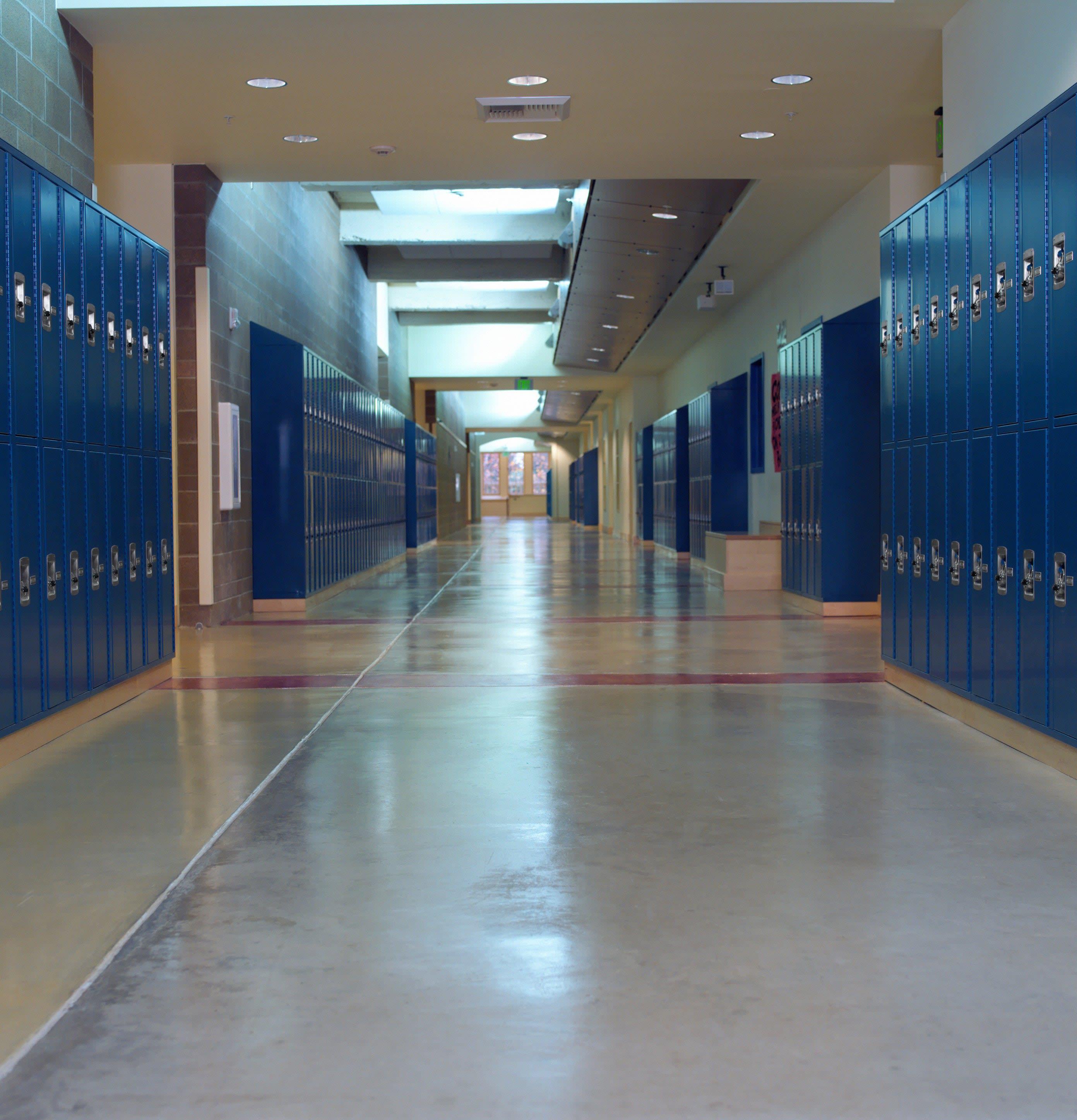 empty high school hallway