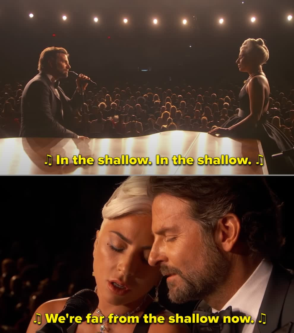 Bradley and Lady Gaga singing live at the 2019 Oscars