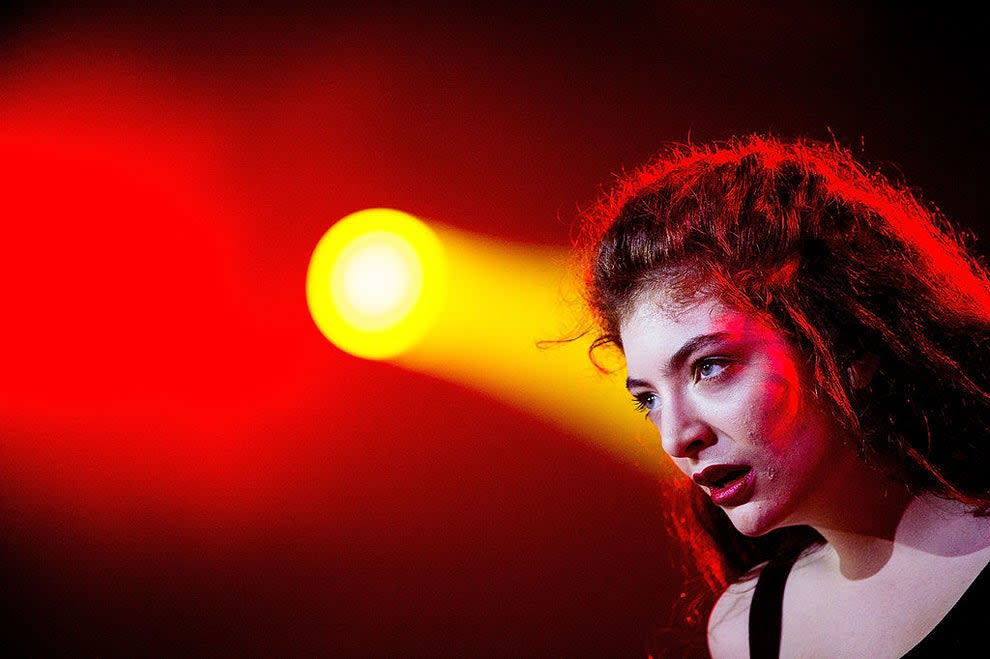 Lorde performs on stage during the 2014 Lollapalooza Brazil