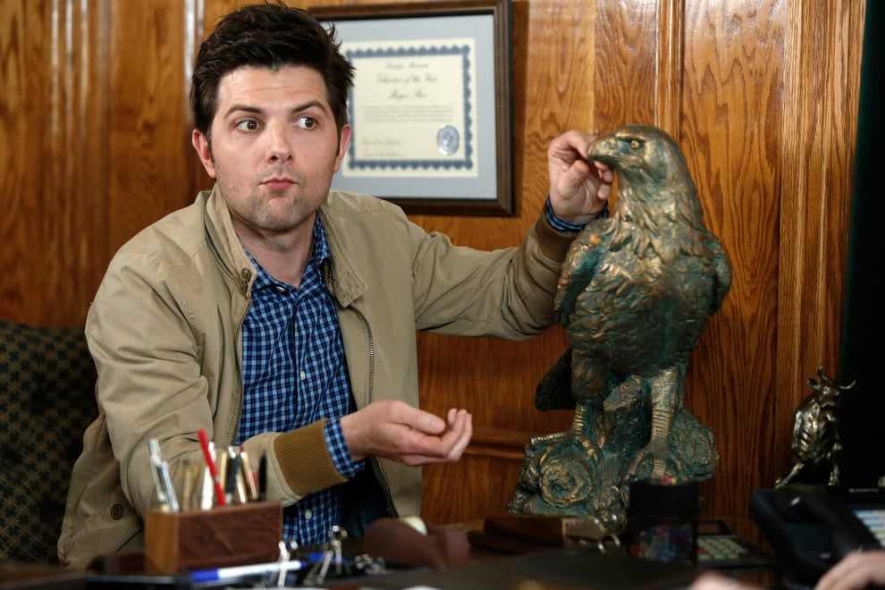 """Ben Wyatt sitting at a desk on """"Parks and Rec"""""""