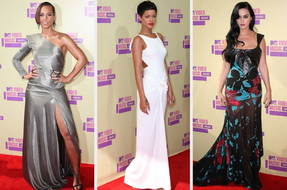 Alicia wears a metallic one-shoulder dress, Rihanna wears a cutout gown with a cinched waist, Katy wears a floral gown with a long skirt