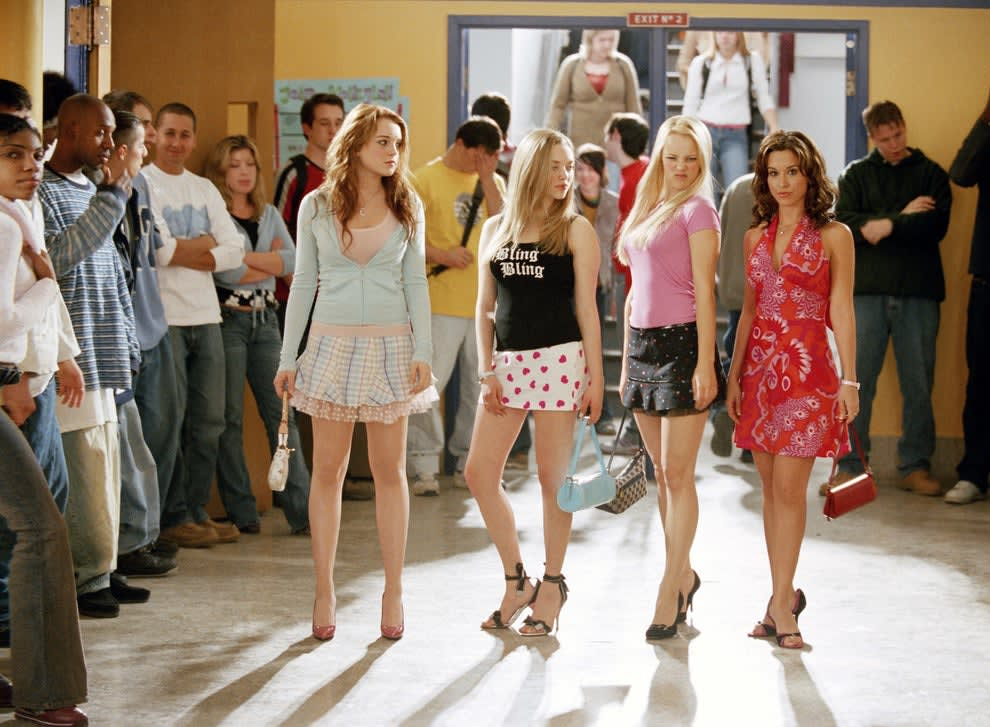 """The cast of """"Mean Girls"""" looking too glamorous and put together for a day of school"""