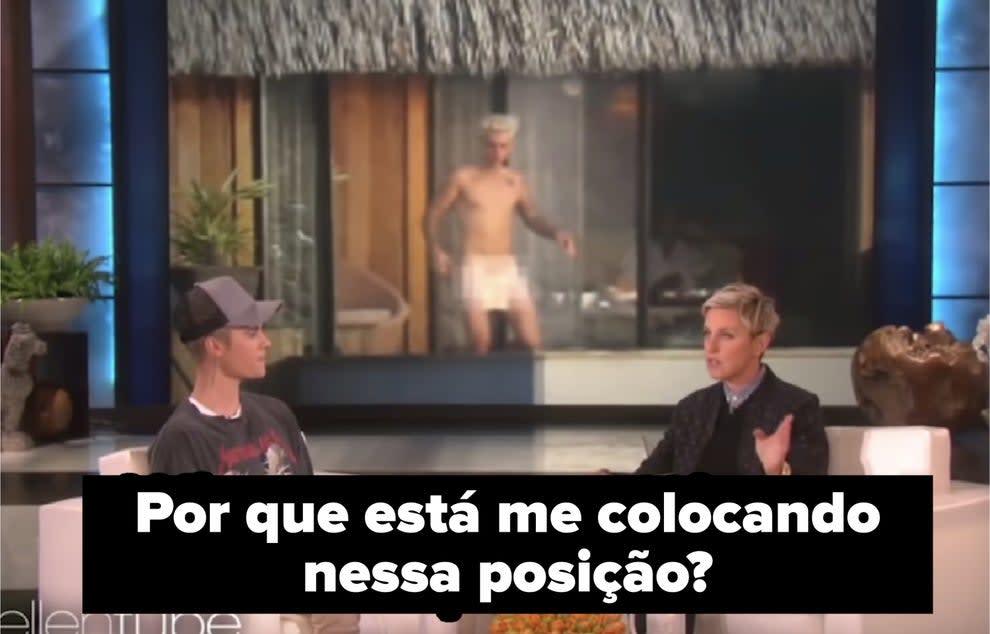 """Justin Bieber questionando Ellen """"Por que está me colocando nessa posição?"""""""
