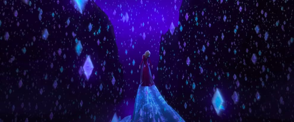 "Elsa standing around frozen diamonds in ""Frozen II"""